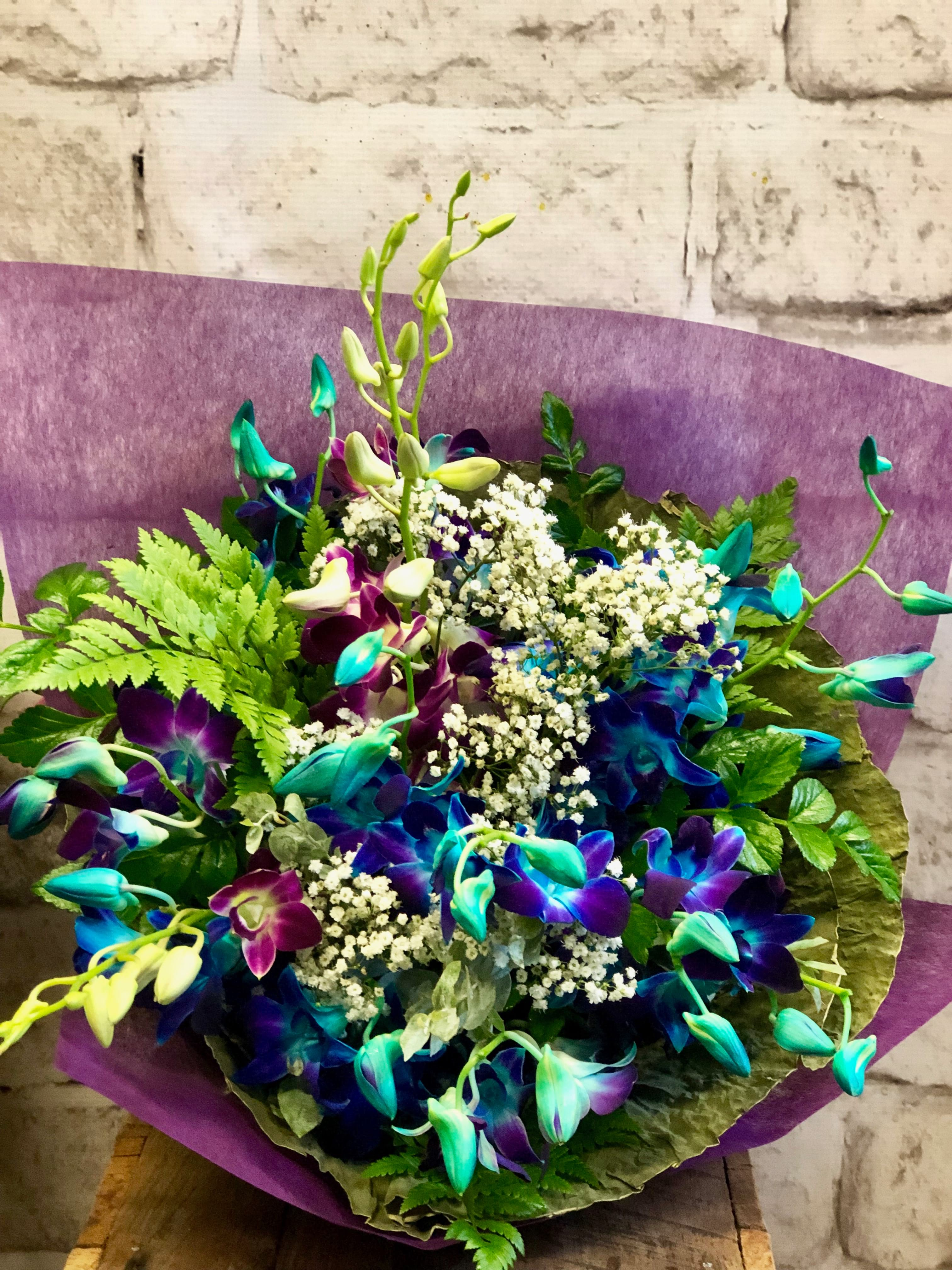 Singapore Orchid Bouquet, Blue Orchid & Purple Orchid
