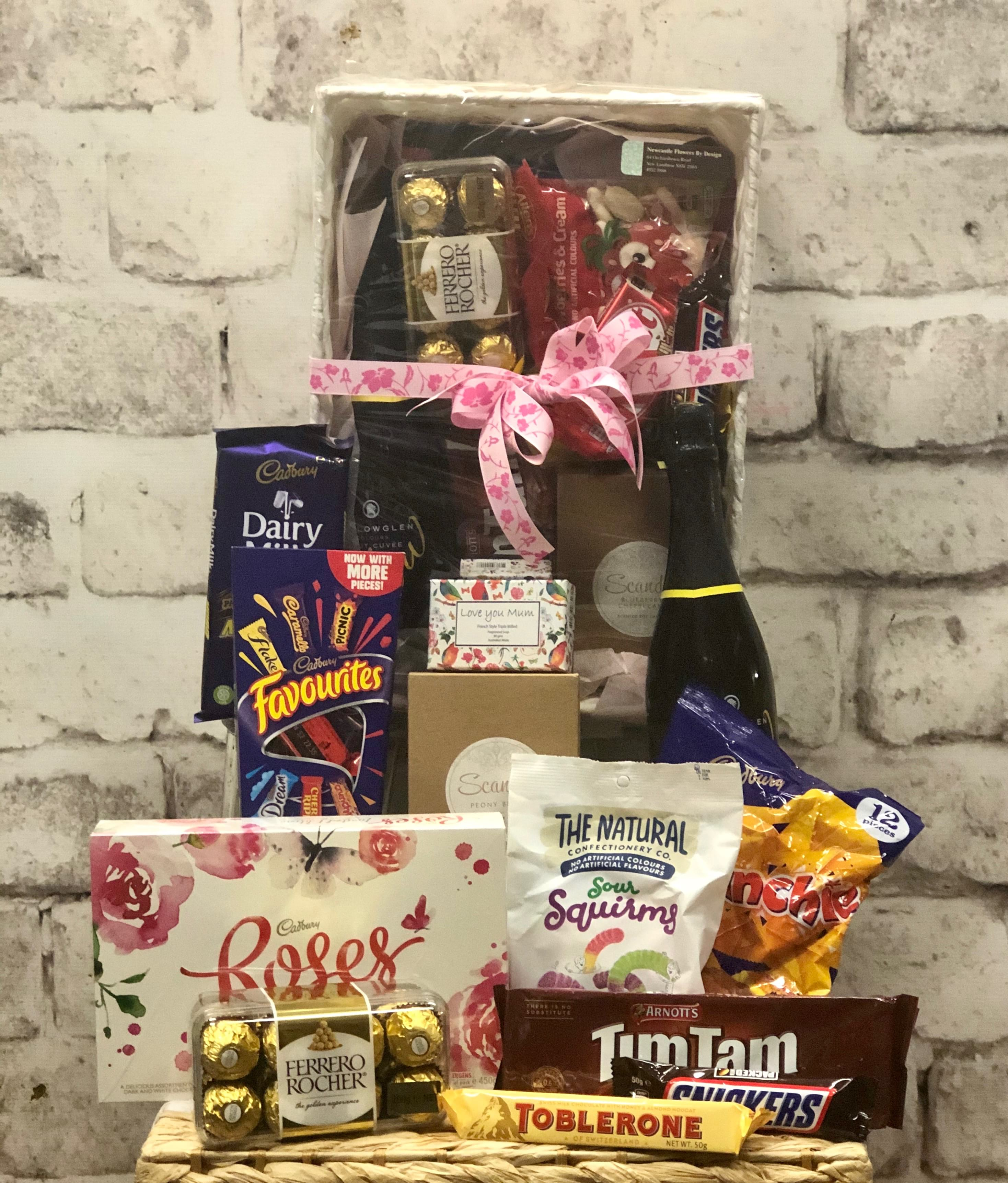 Chocolates, Tim Tams, Champagne, Fragrant Candle & Soap Hamper