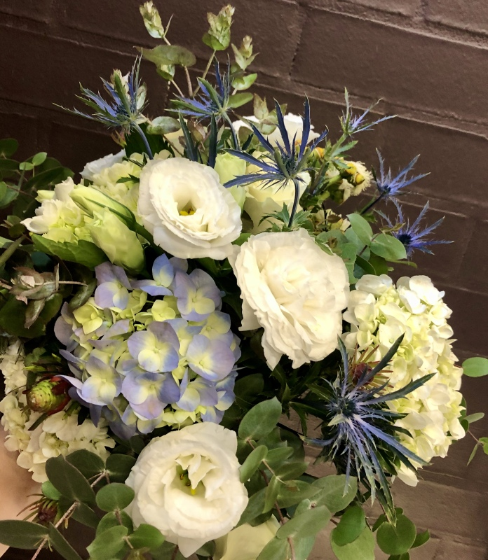 Blue Bridal bouquet hydrangea seaholly wild flowers lissianthus