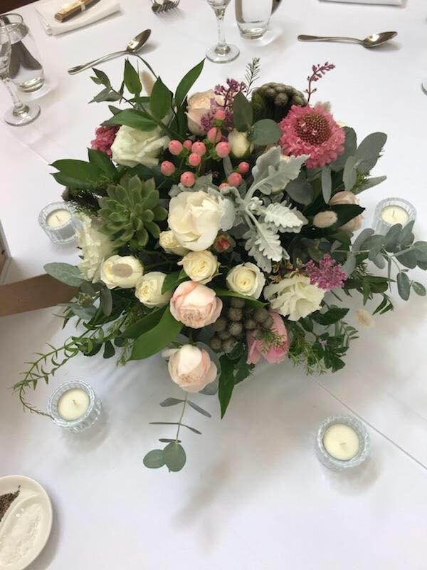 Spray roses, Berries, Paper Daisy Wedding Reception Flowers