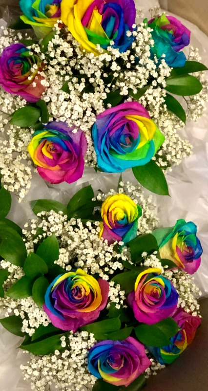 Rainbow Rose Wedding Bouquets