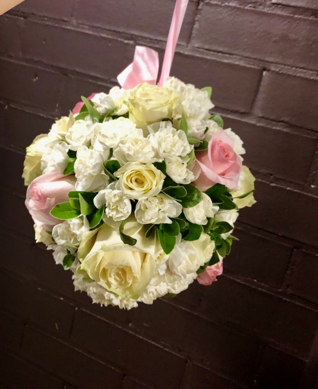 Floral Bridesmaid Ball Roses & Carnations (Pink & White)
