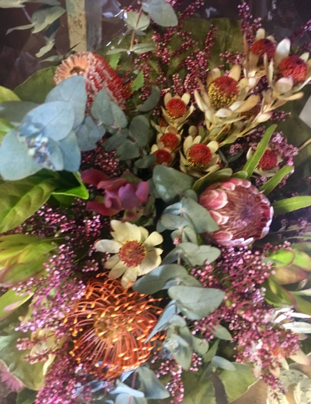 Native Love brides bouquet rustic natural and relaxed protea leucs gum