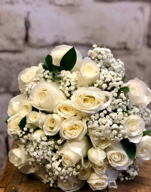 White Rose & Babies Breath Wedding Bouquet
