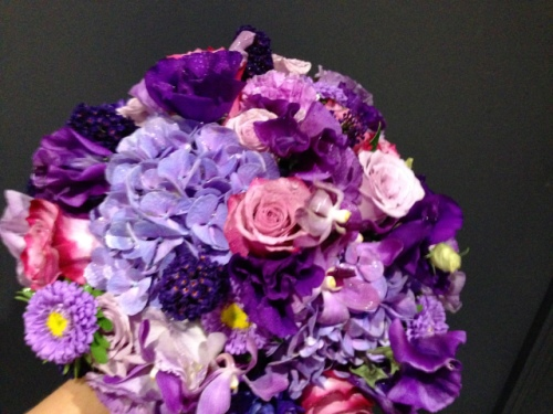 Purple Hydrangea and Lisianthus Wedding