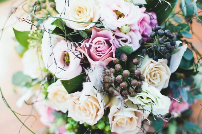 Rustic Bridal bouquet berries roses gum