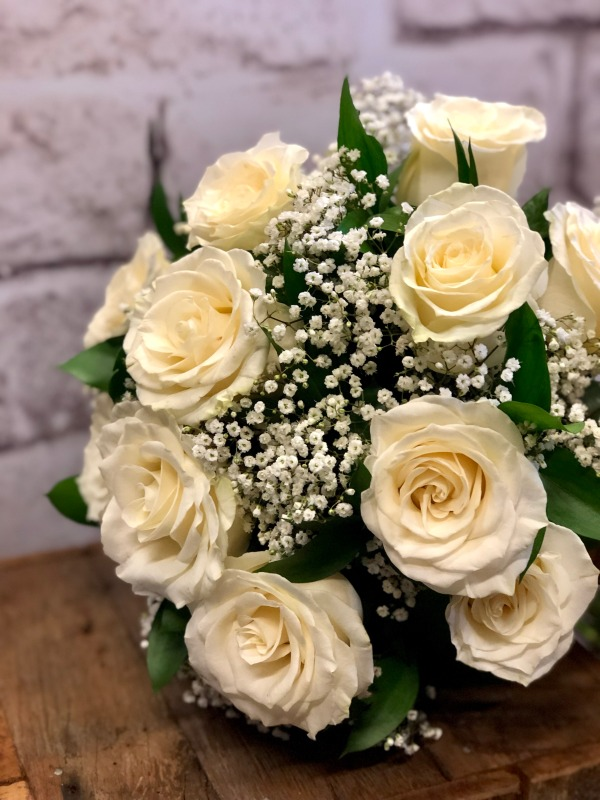 White Roses & Babies Breath Wedding Bouquet