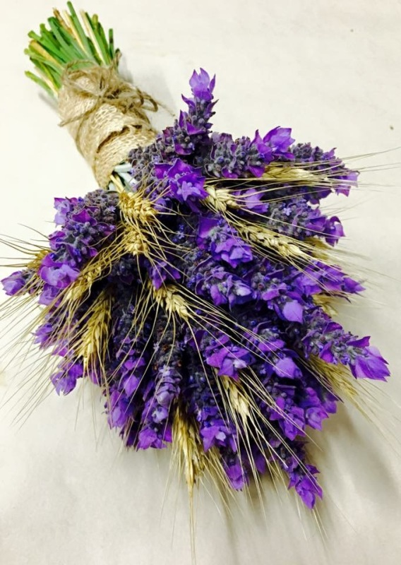 Lavender Brides Bouquet lavender and wheat country style wedding bouquet