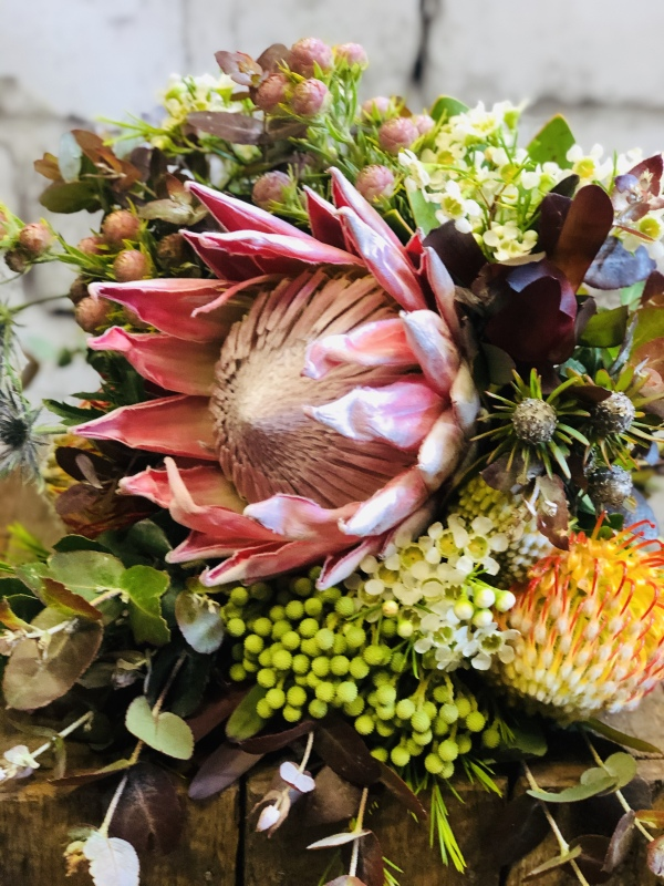 King Protea bridal bouquet natives gum wedding bouquet