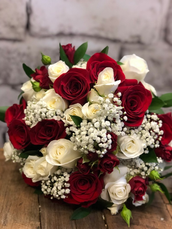 Red & White Babies Breath Wedding Bouquet