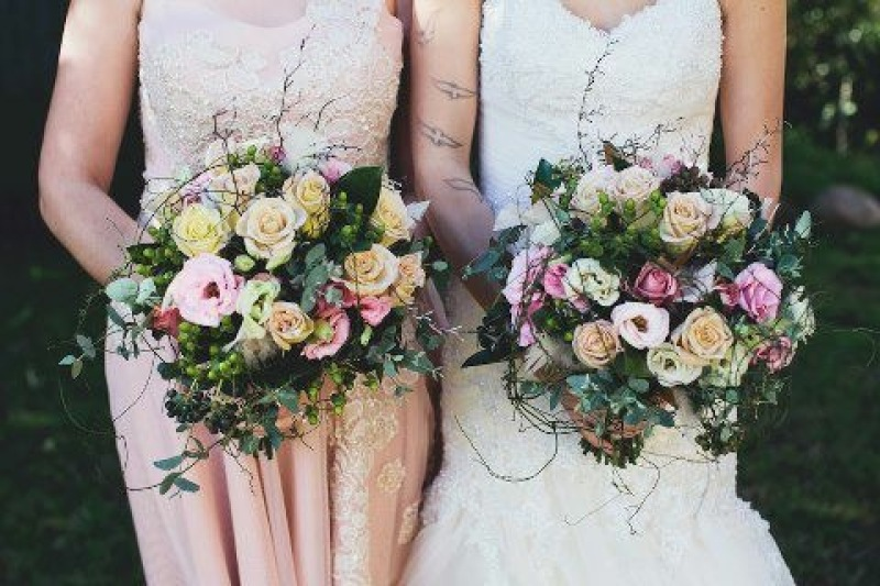 Bride and Bridesmaid wedding bouquet