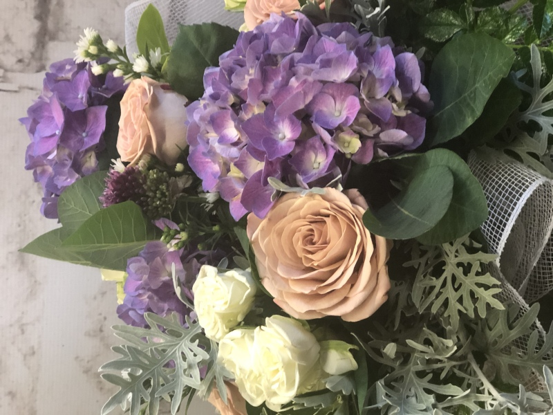 Purple hydrangea brides bouquet