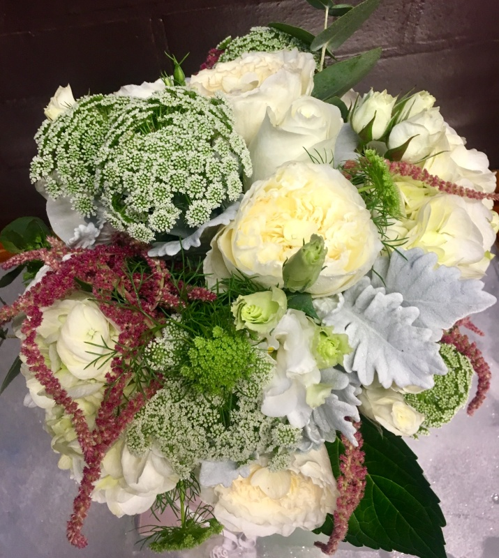 Peonie bridal bouquet cream peonie hydrangea hanging amaranthus dusty miller lush relaxed style wedding bouquet