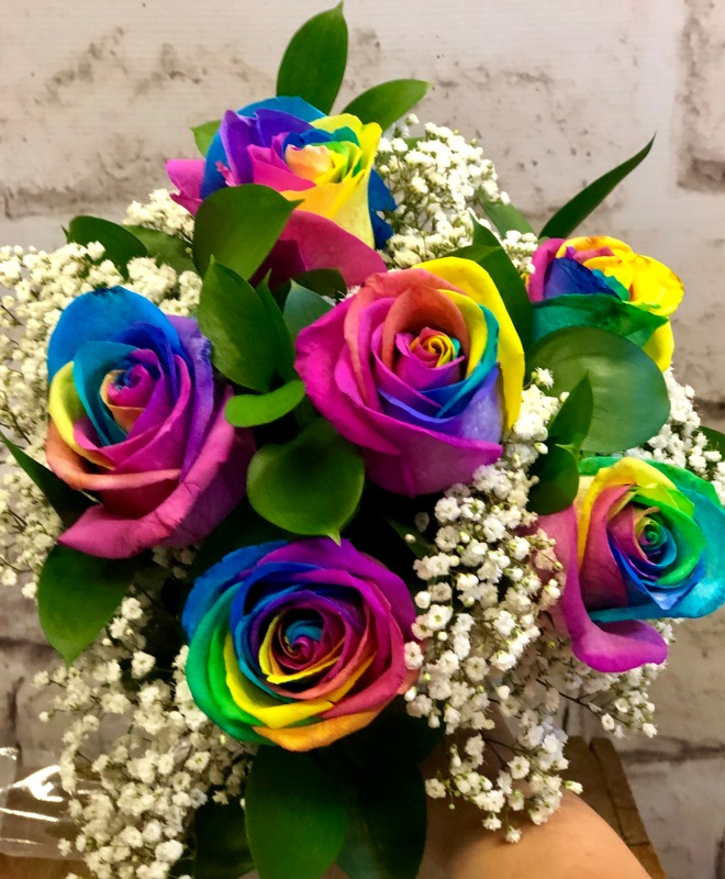 Rainbow Roses & Babies Breath Bridal Bouquet