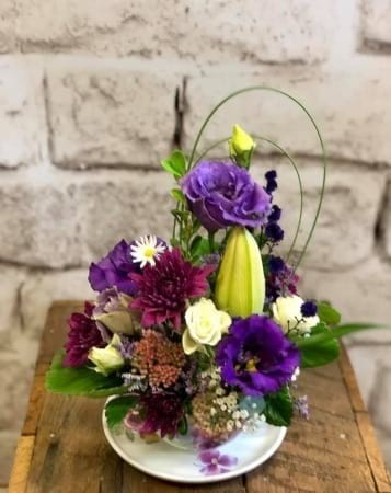 Large teacup flower arrangement