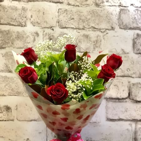 Six Colombian Red Roses Bouquet