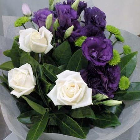 Purple & White Bouquet With Lisianthus