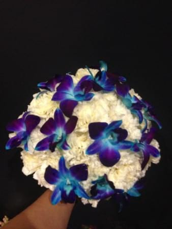 Wedding Bouquet featuring Blue Orchids